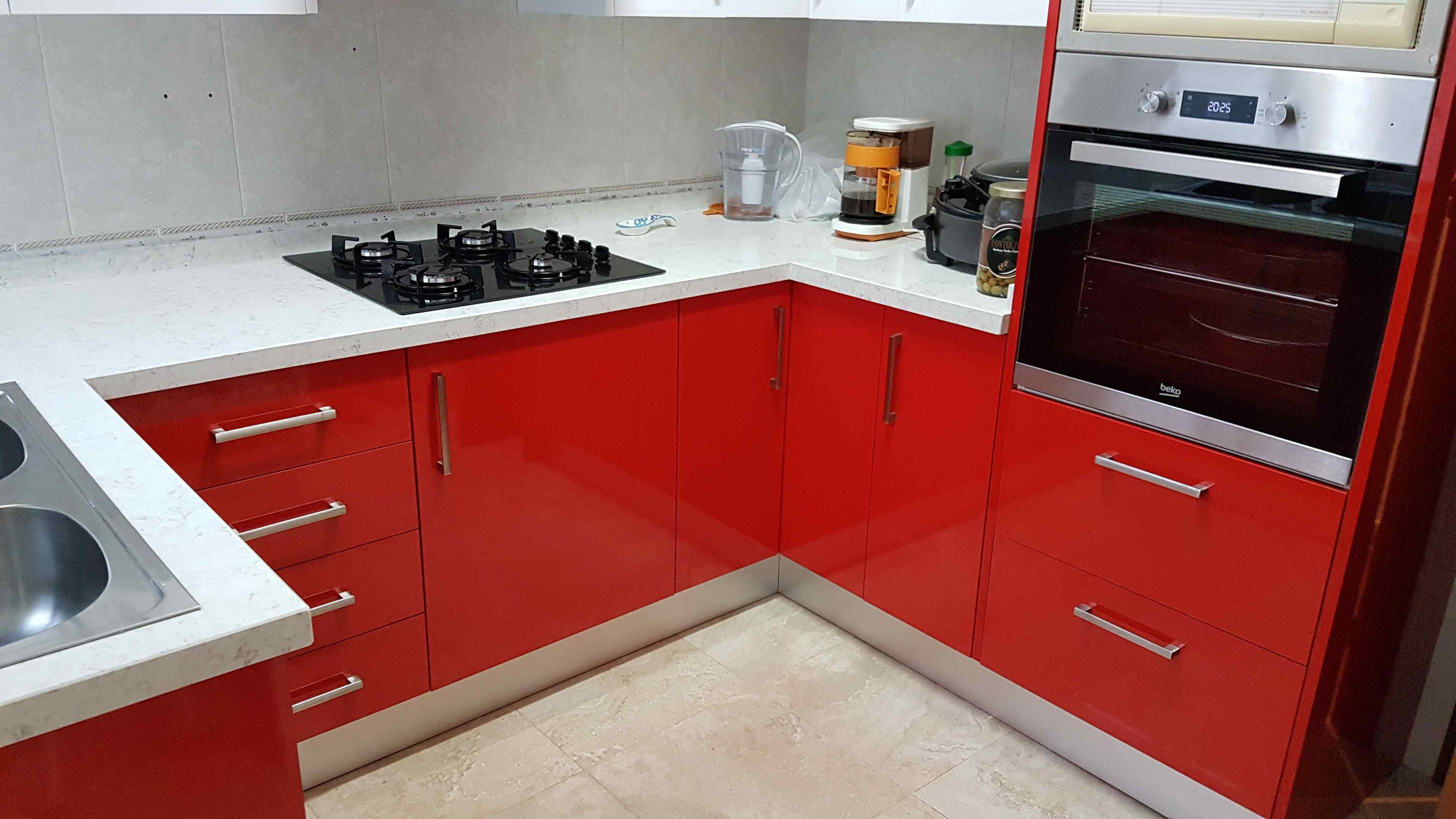 Carpinteria Familia Murcia Cocina Roja Y Blanca En Alto Brillo